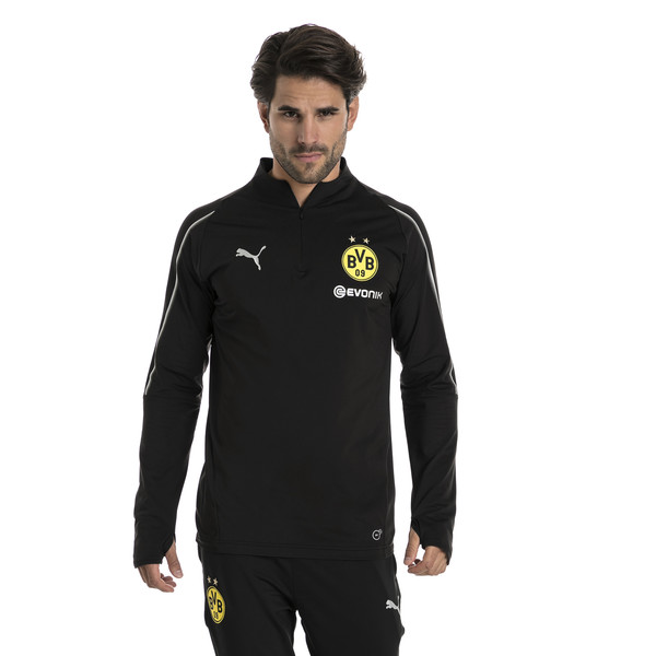 BVB Men's 1/4 Zip Training Top, Puma Black, large