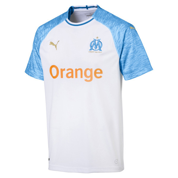 Olympique de Marseille Men's Home Replica Jersey, Puma White-Bleu Azur, large