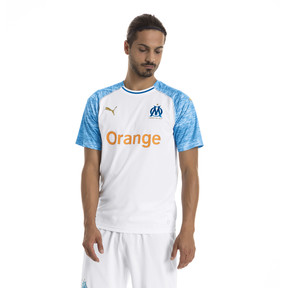 Thumbnail 1 of Olympique de Marseille Men's Home Replica Jersey, Puma White-Bleu Azur, medium