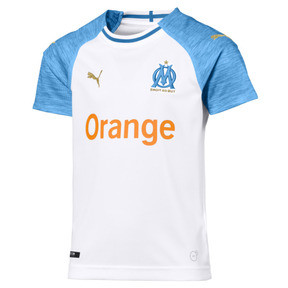 Thumbnail 1 of Olympique de Marseille Kids' Home Replica Jersey, Puma White-Bleu Azur, medium