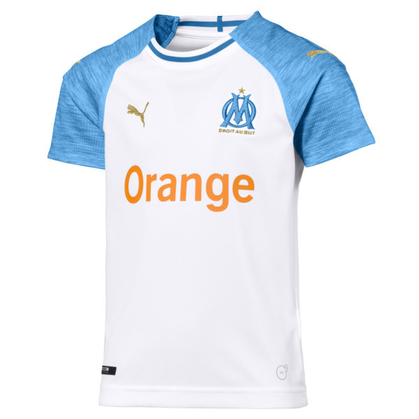Olympique de Marseille Kids' Home Replica Jersey, Puma White-Bleu Azur, large