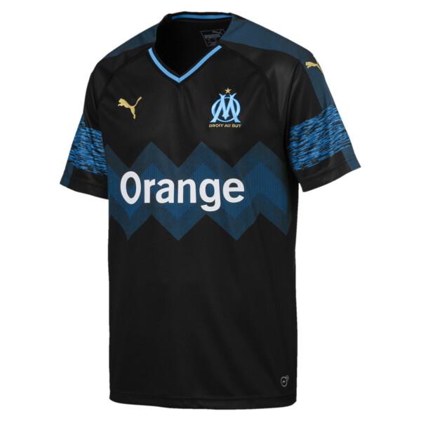 Olympique de Marseille Men's Away Replica Jersey, Puma Black-Bleu Azur, large