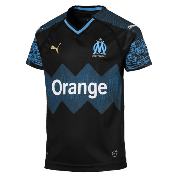Olympique de Marseille Kids' Away Replica Jersey, Puma Black-Bleu Azur, large