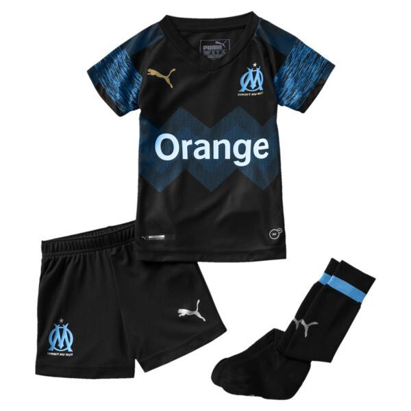 Olympique de Marseille Kids' Away Minikit, Puma Black-Bleu Azur, large
