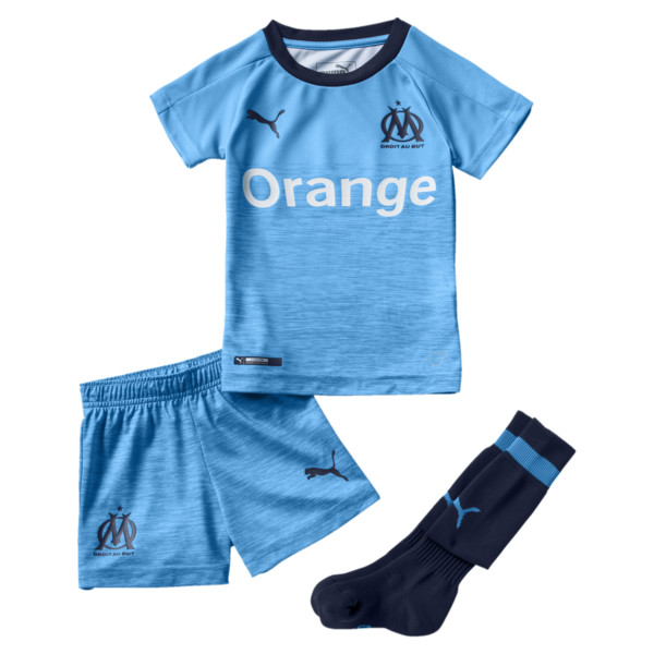 Olympique de Marseille Kids' Third Minikit, Peacoat-Bleu Azur, large