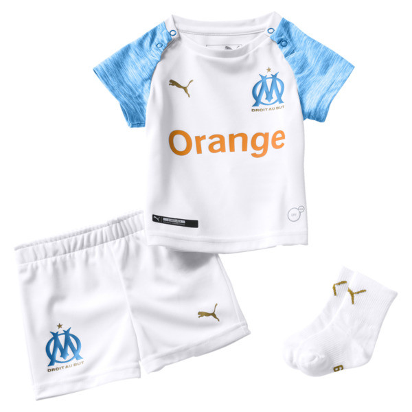Olympique de Marseille Home Baby Kit, Puma White-Bleu Azur, large