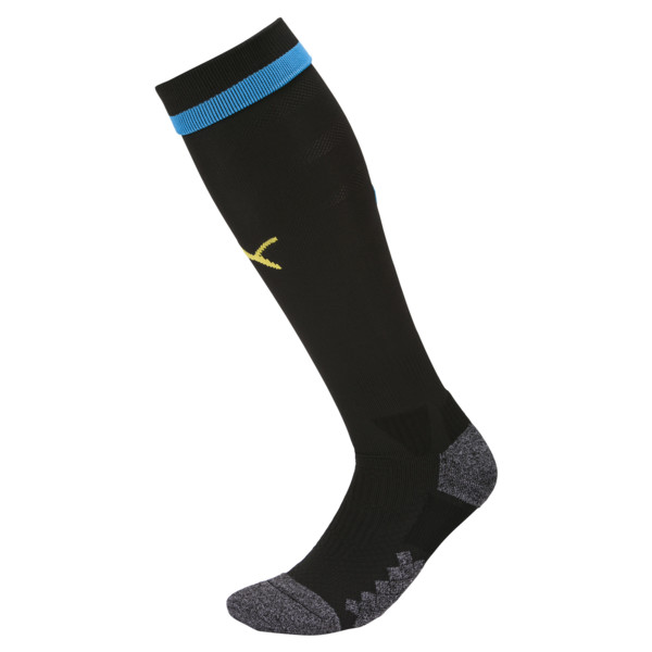 Olympique de Marseille Men's Socks, Puma Black-Bleu Azur-Gold, large