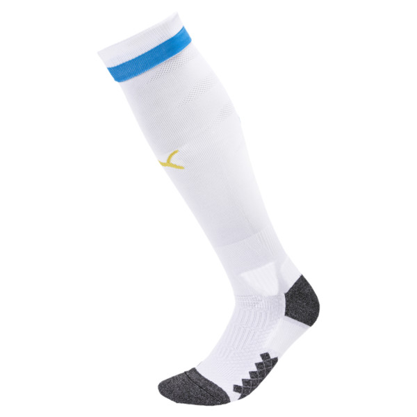 Olympique de Marseille Men's Socks, Puma White-Bleu Azur-Gold, large
