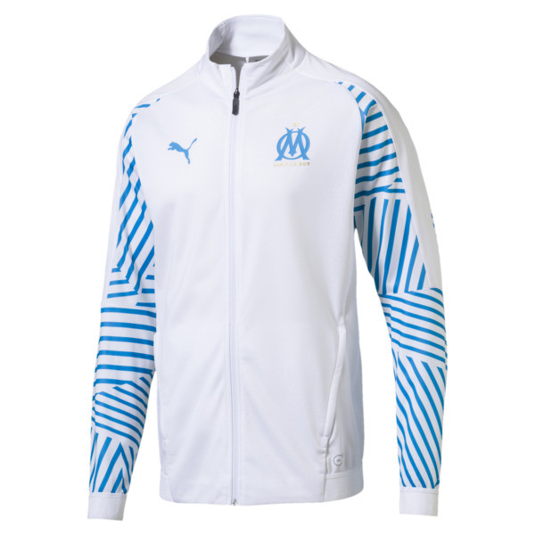 Olympique de Marseille Men's Stadium Jacket, Puma White- Bleu Azur, large