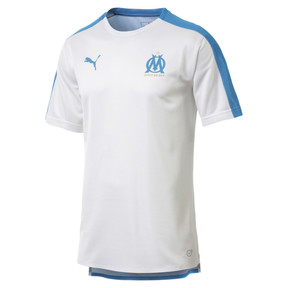 Thumbnail 4 of Olympique de Marseille Men's Stadium Jersey, Puma White-Bleu Azur, medium