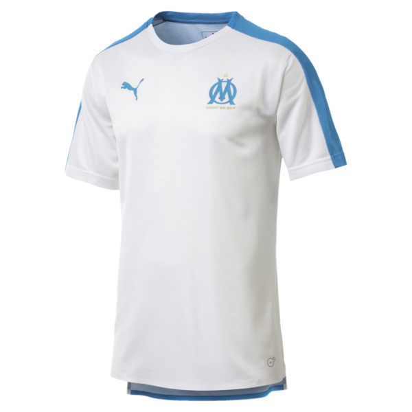 Olympique de Marseille Men's Stadium Jersey, Puma White-Bleu Azur, large