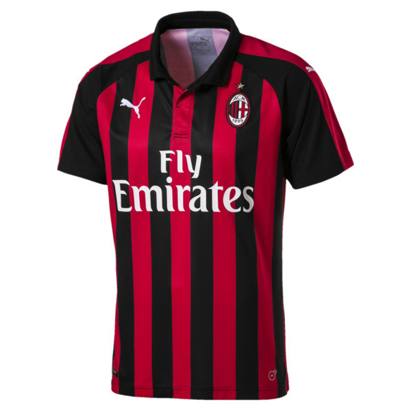 AC Milan Men's Replica Home Jersey, Tango Red-Puma Black, large
