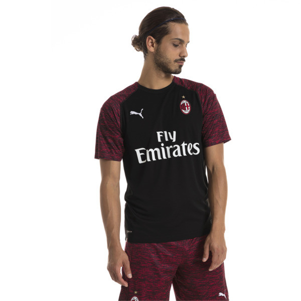 AC Milan Men's Replica Third Shirt, Puma Black-Tango Red, large