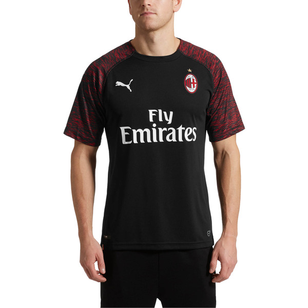 AC Milan Men's Replica Third Shirt, Puma Black-Tango Red, large