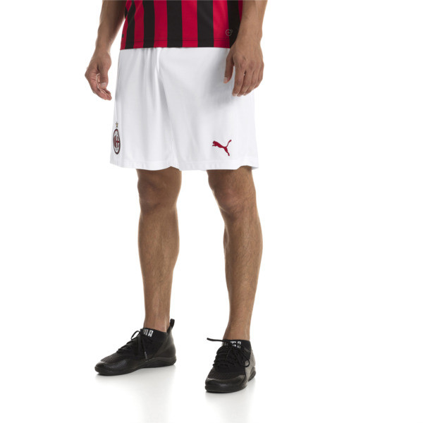 AC Milan Men's Replica Shorts, Puma White-Tango Red, large