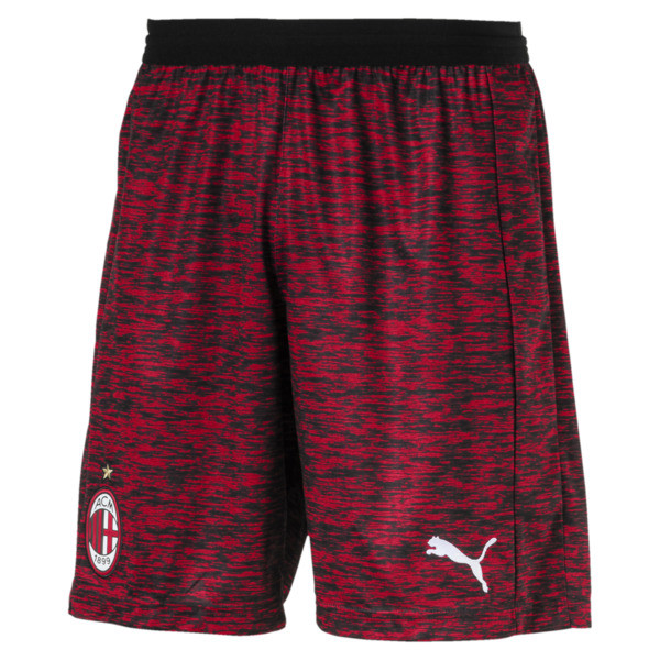 AC Milan Men's Replica Shorts, Tango Red -Puma White, large