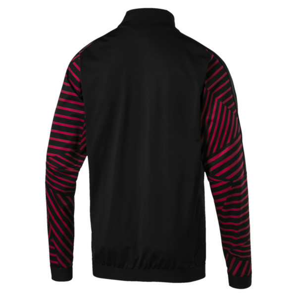 AC Milan Men's Stadium Jacket, Puma Black-Chili Pepper, large