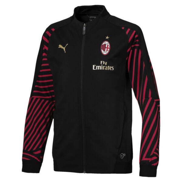 AC Milan Kids' Stadium Jacket, Puma Black-Chili Pepper, large
