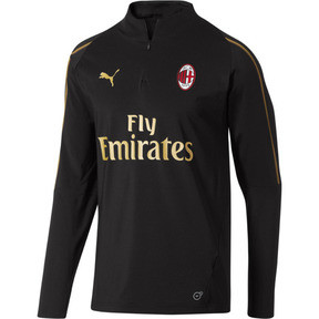 Thumbnail 1 of AC Milan1/4 Zip Top with Sponsor, Puma Black-Victory Gold, medium