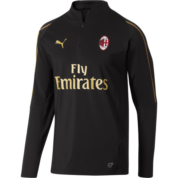 AC Milan1/4 Zip Top with Sponsor, Puma Black-Victory Gold, large