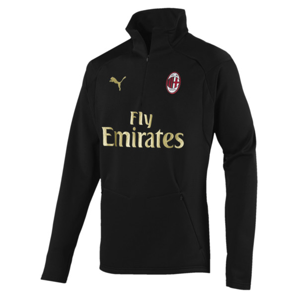 AC Milan Men's Training Fleece Sweater, Puma Black-Victory Gold, large