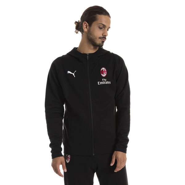 AC Milan Men's Casual Performance Hooded Jacket, Puma Black-Puma White, large