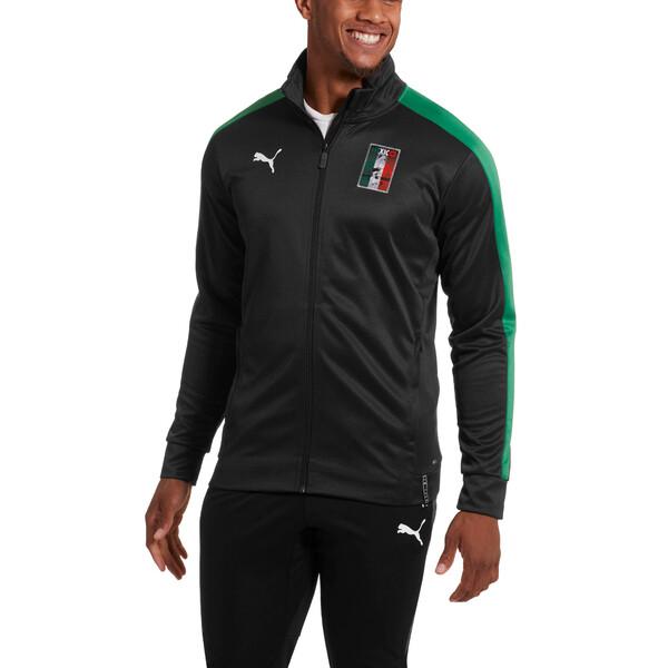 Copa America Men's T7 Track Jacket, Puma Black-Amazon Green, large