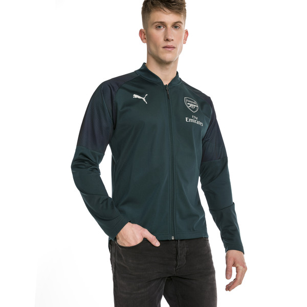 Arsenal FC Men's Stadium Jacket, Ponderosa Pine-Peacoat, large