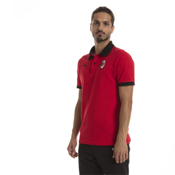 AC Milan Men's Badge Polo, Tango Red-Puma Black, large