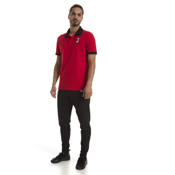AC Milan Men's Badge Polo, Tango Red-Puma Black, large