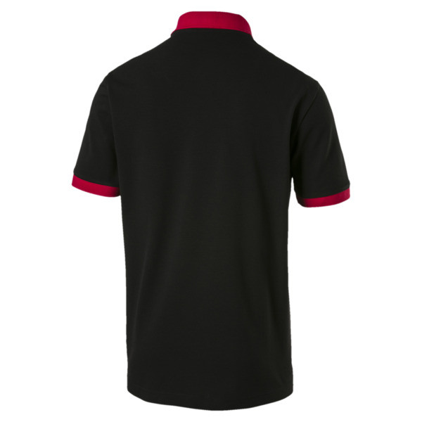 AC Milan Men's Badge Polo, Puma Black-Tango Red, large