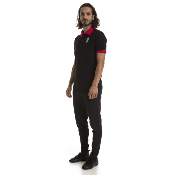 AC Milan Herren Wappen Polo, Puma Black-Tango Red, large