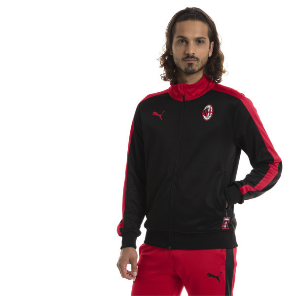 AC Milan Men's T7 Track Jacket, Puma Black-Tango Red, large