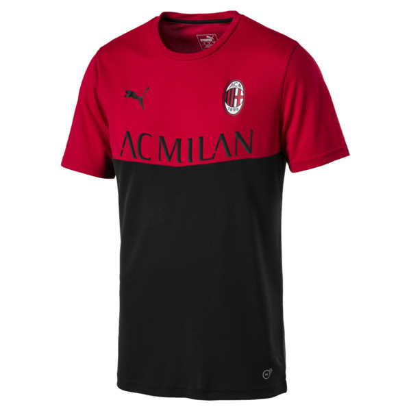 AC Milan Men's Fan Poly T-Shirt, Tango Red-Puma Black, large