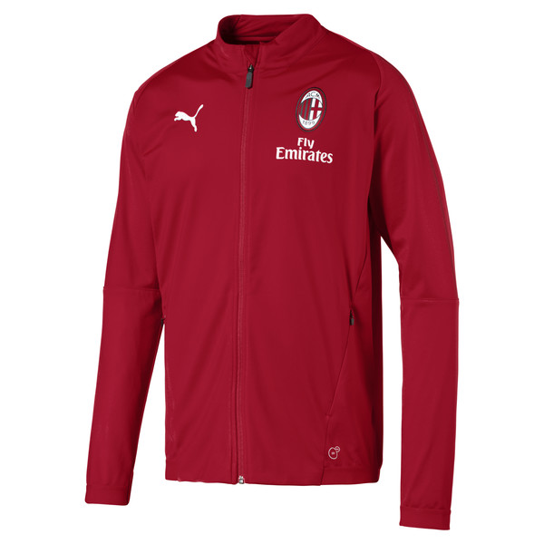 AC Milan Men's Track Jacket, Chili Pepper-puma white, large