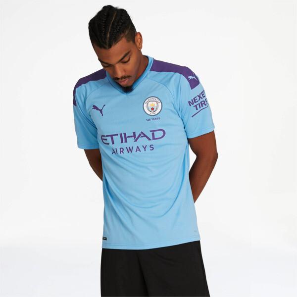 puma manchester city fc home soccer jersey in team light blue/tillandsia purple, size xxl