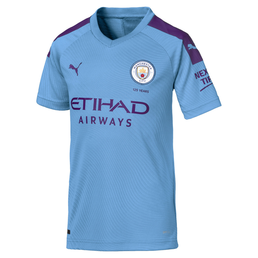 Image PUMA Man City Short Sleeve Kids' Home Replica Jersey #1