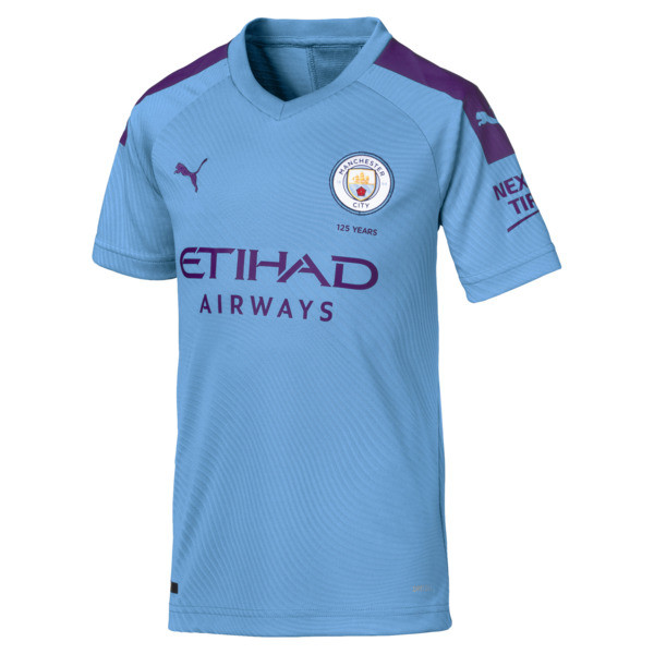 Man City Short Sleeve Kids' Home Replica Jersey, TeamLightBlue-TillandsiaPurp, large