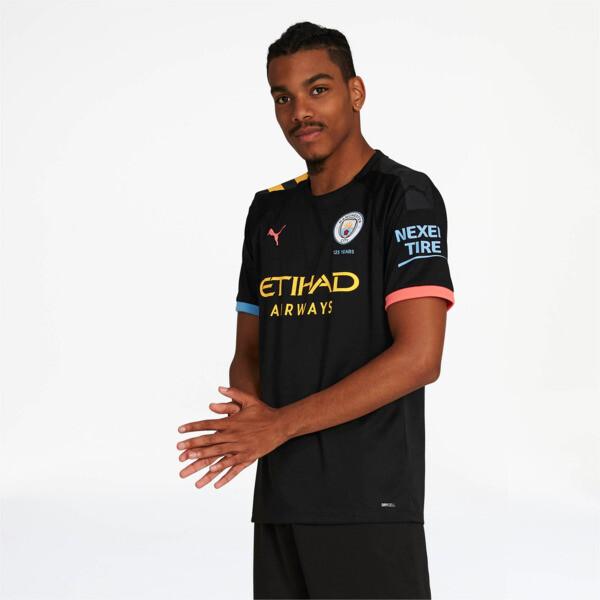 puma manchester city away replica soccer jersey in black/georgia peach, size l