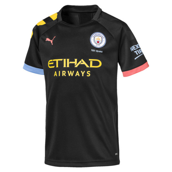 Manchester City Kinder Replica Auswärtstrikot, Puma Black-Georgia Peach, large