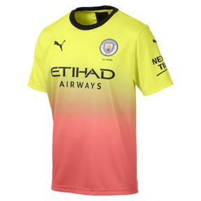 Miniatura 1 de Réplica de la tercera camiseta del Manchester City FC para hombre, Fizzy Yellow-Georgia Peach, mediano