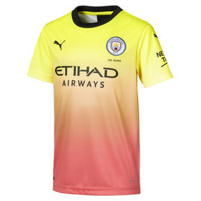Thumbnail 1 of Manchester City FC Kinder Replica Ausweichtrikot, Fizzy Yellow-Georgia Peach, medium