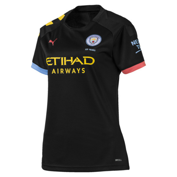 Man City Short Sleeve Women's Away Replica Jersey, Puma Black-Georgia Peach, large