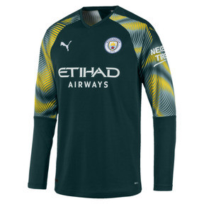 Thumbnail 1 of Man City Men's Replica Goalkeeper Jersey, Ponderosa Pine-Cyber Yellow, medium