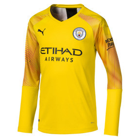 Thumbnail 1 of Man City Long Sleeve Kids' Replica Goalkeeper Jersey, Cyber Yellow-Puma Black, medium