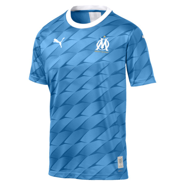 Olympique de Marseille Men's Away Replica Jersey, Bleu Azur-Puma White, large