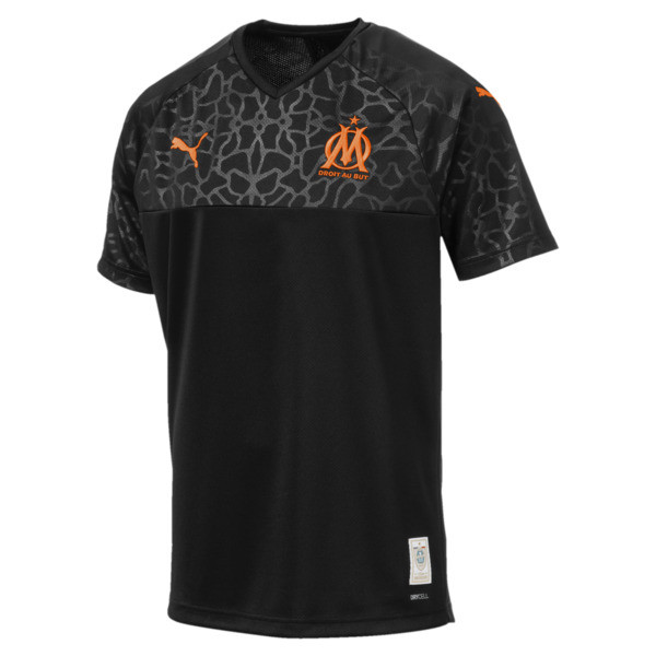 Olympique de Marseille Men's Replica Third Jersey, Puma Black-Orange Popsicle, large