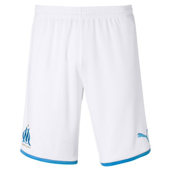 Olympique de Marseille Men's Replica Shorts, Puma White-Bleu Azur, large