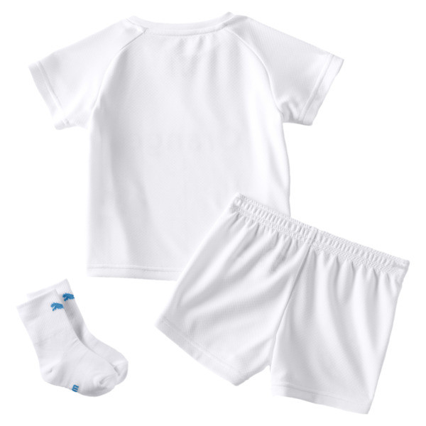 Olympique de Marseille Babies' Home Mini Kit, Puma White-Bleu Azur, large