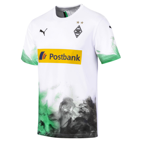 Borussia Mönchengladbach Men's Home Replica Jersey, Puma White-Bright Green, large
